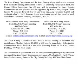 Knox County Ethics Committee Notice. posted here as a free service to Knox County. Knox County is required to pay to place this in the daily news paper