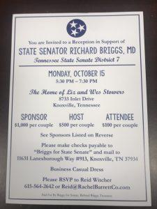 Invitation for Senator Richard Briggs campaign fundraiser