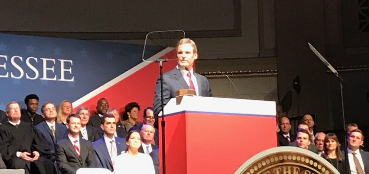 TN Governor Bill Lee delivers his remarks.