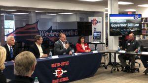 Lee, Knox County Mayor Glenn Jacobs and Rhonda Rice of the Chamber Partnership