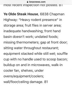 Screenshot of the KnoxNews report about a recent inspection of Ye Olde Steak House
