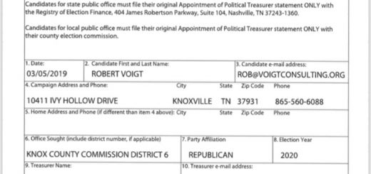 Appointment of Treasurer form filed this morning with the Knox County Election Commission