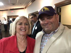 Senator Becky Duncan Massey and I, I bought her Ham N Goodys Red Velvet Cake