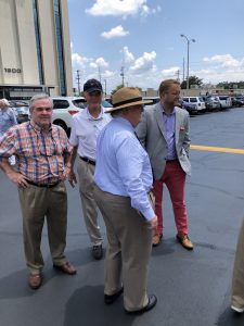 Richard Maples, Former Knox County Commissioner John Griess, Knox County Commissioner at Large Seat 11 Justin Biggs and former Knoxville Mayor Victor Ashe wearing the straw hat