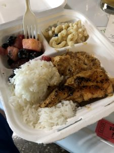 The chicken meal, grilled with rice, Mac and cheese and fruit was the meal I purchased and it was delicious