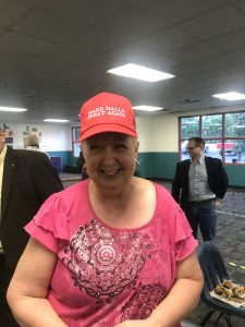 "One of the many Scott Moore hats that he has given away and was a door prize tonight, ""Make Halls Great Again"""