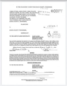the lawsuit with the names listed as Plantiff's