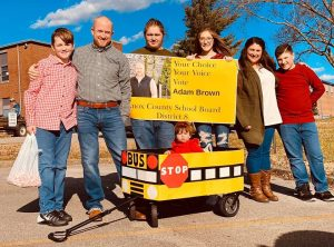 Adam Brown and family in the Gibbs community Christmas parade