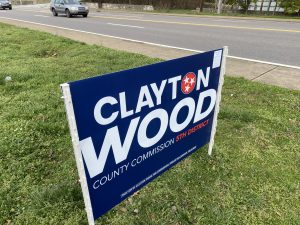 Clayton Wood sign appears to have been tagged