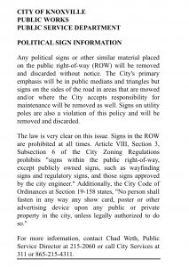 City of Knoxville political sign policy