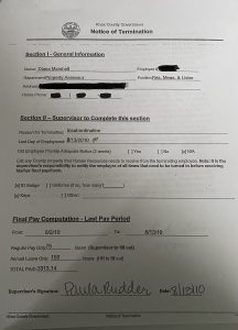 copy of the termination notice of Tina Marshall from her personnel file