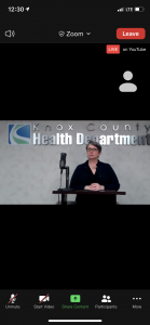 Screenshot of Dr. Martha Buchanan at the 5/20/2020 Zoom media Briefing