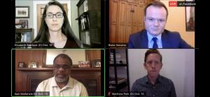 Second Forum, top left Elizabeth Rowland, top right, Moderator Blake Stevens, bottom left Sam McKenzie and bottom right Matthew Park