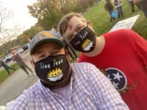 "Cornett and I wearing Libertarian ""Live Free"" masks"