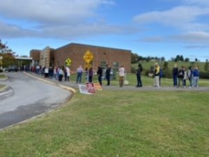 The line into Karns Early Vote Center on the third day of Early Voting 10/16/2020